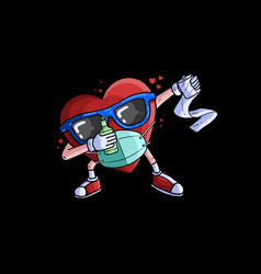 Heart dabbing with mask and hand sanitizer vector