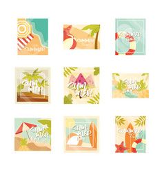 hello summer banner season vacations travel vector image
