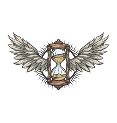 Hourglass and wings Color version vector