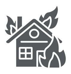 House on fire glyph icon burn and accident vector