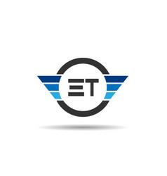 initial letter et logo template design vector image