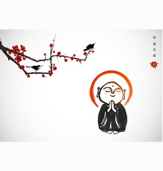ink painting praying japanese boddhisattva jizo vector image