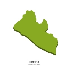 Isometric map of liberia detailed vector