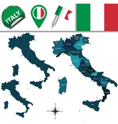 Italy map with named divisions vector