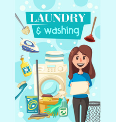 Laundry and dish washing service poster vector