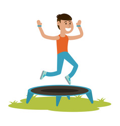 man jumping on trampoline cartoon vector image