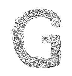 mandala letter g monogram adult coloring book vector image