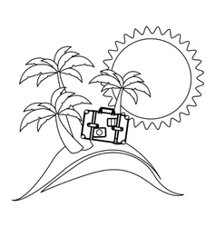 monochrome contour with beach and suitcase vector image