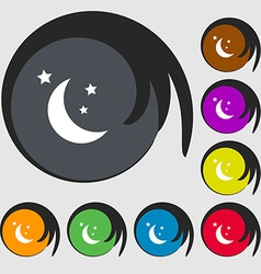 Moon icon sign Symbols on eight colored buttons vector