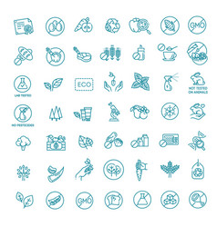 natural food flat line icons set vector image