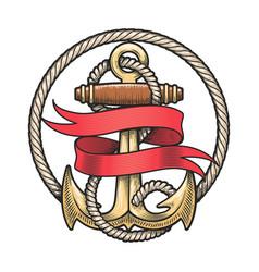 nautical emblem anchor and red ribbon vector image