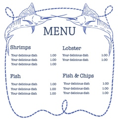 Nautical seafood menu with swordfish and ro vector