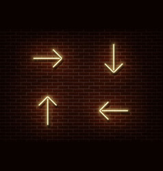 neon yellow arrows isolated on brick wall light d vector image