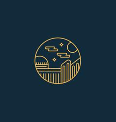 Night city town university monoline badge with vector