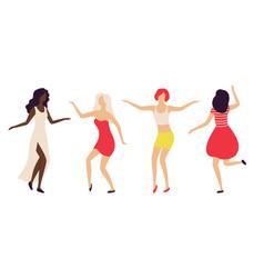 Partying women in nightclub lady dancing vector