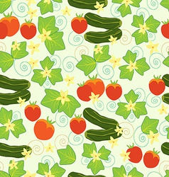 Pattern cucumbers tomatoes leaves and flowers vector image