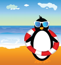 Penguin on beach vector