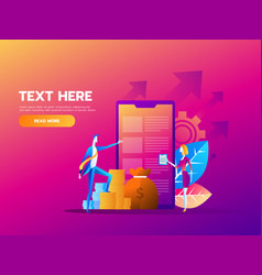 people fill out a form via mobile application vector image