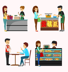 people shopping grocery cliparts vector image