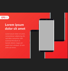 Phone mobile smartphone design on red background vector