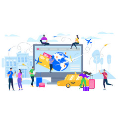 planning travel with online services flat vector image