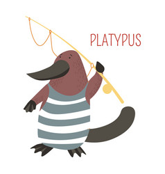 Platypus cartoon australian animal vector