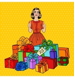 Pop Art Woman with Huge Gift Boxes and Thumbs Up vector
