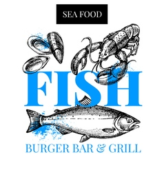 Restaurant fresh sea food menu Fish market poster vector