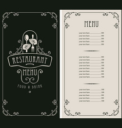 Restaurant menu with price and cutlery in hands vector