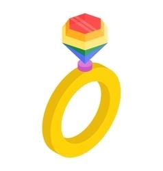 Ring with rainbow diamond isometric 3d icon vector image