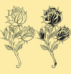 Roses Oldskool Tattoo style element vector image