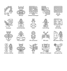 Rpa linear icons set robotic process automation vector
