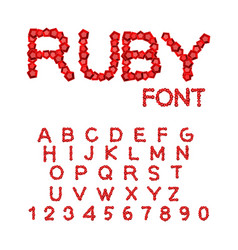 ruby font treasures of alphabet gemstone letters vector image