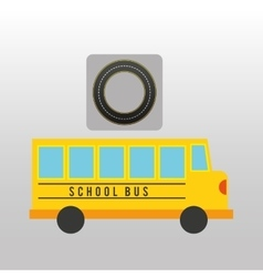 School bus circle road way design vector
