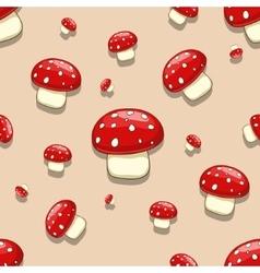 Seamless amanita toxic mushroom vector