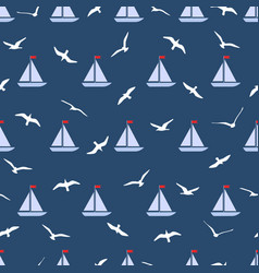 Seamless pattern with gulls and ships vector