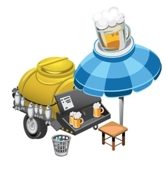Selling beer and snacks from the barrel outdoors vector image