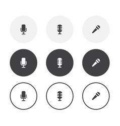 set 3 simple design microphone icons rounded vector image