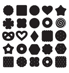 Set black and white biscuit cookies and vector