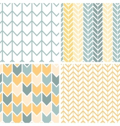 Set four gray yellow chevron patterns and vector