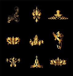 Set of Golden Vintage Elements for Design vector image