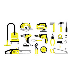 set of repair building tools icons outline vector image