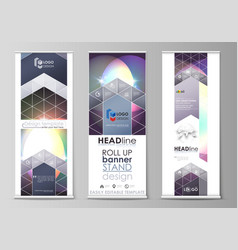 Set of roll up banner stands abstract geometric vector
