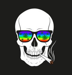 skull smoking on black vector image