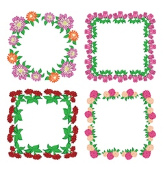 Square floral frames - flowers vector