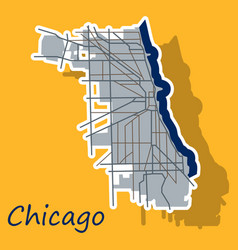 Sticker map chicago city illinois roads vector