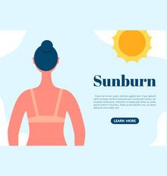 sunburned woman back view cartoon character sun vector image