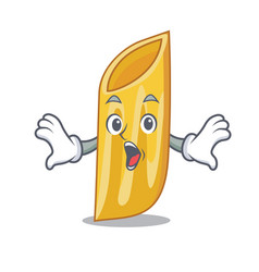 Surprised penne pasta character cartoon vector