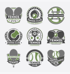 Tennis club vintage isolated label set vector