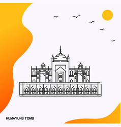 Travel humayuns tomb poster template vector